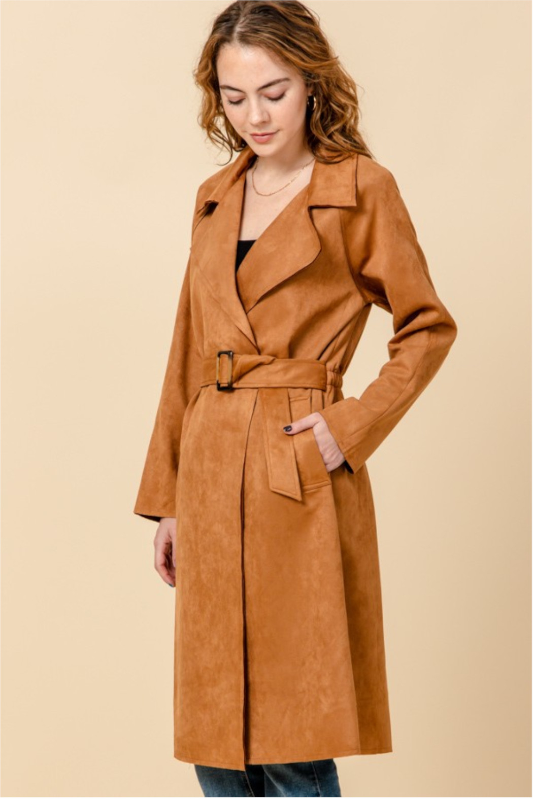 HYFVE Camel Suede Trench Coat - Front Full Image