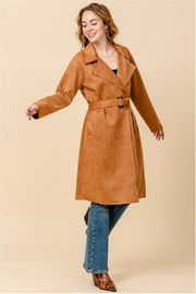 HYFVE Camel Suede Trench Coat - Back cropped