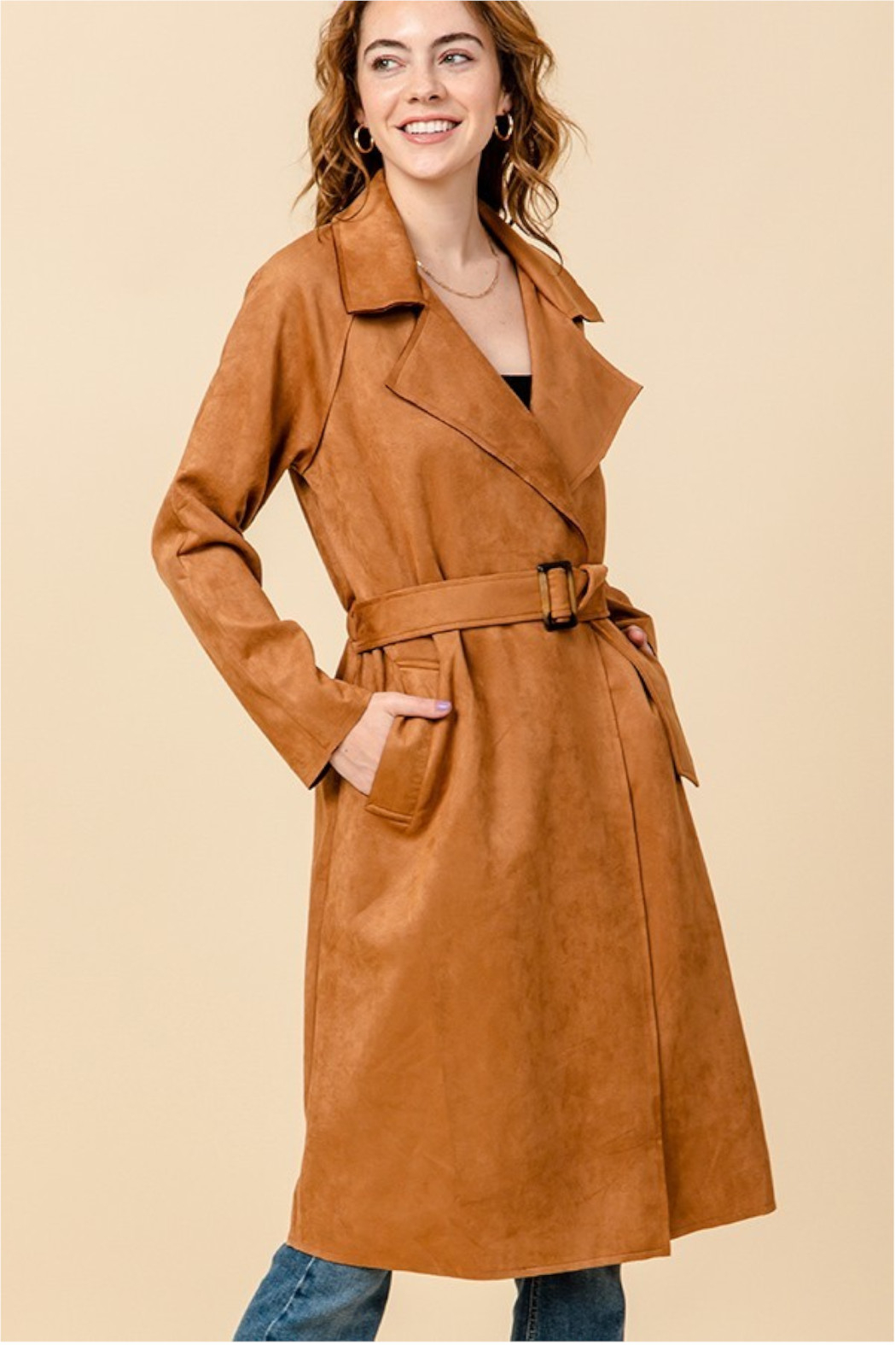 HYFVE Camel Suede Trench Coat - Main Image
