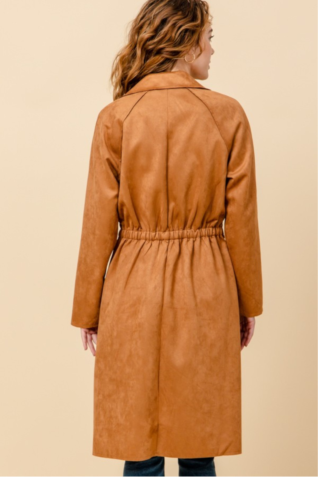 HYFVE Camel Suede Trench Coat - Side Cropped Image