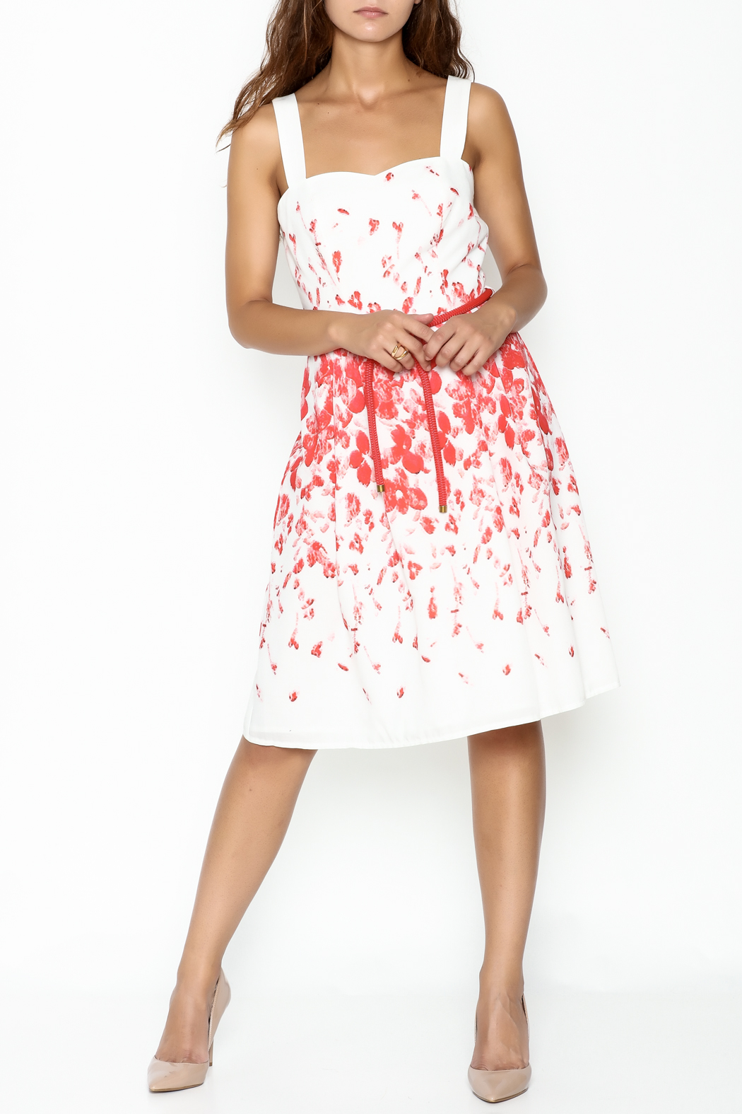 Camelot A Line Print Dress - Side Cropped Image