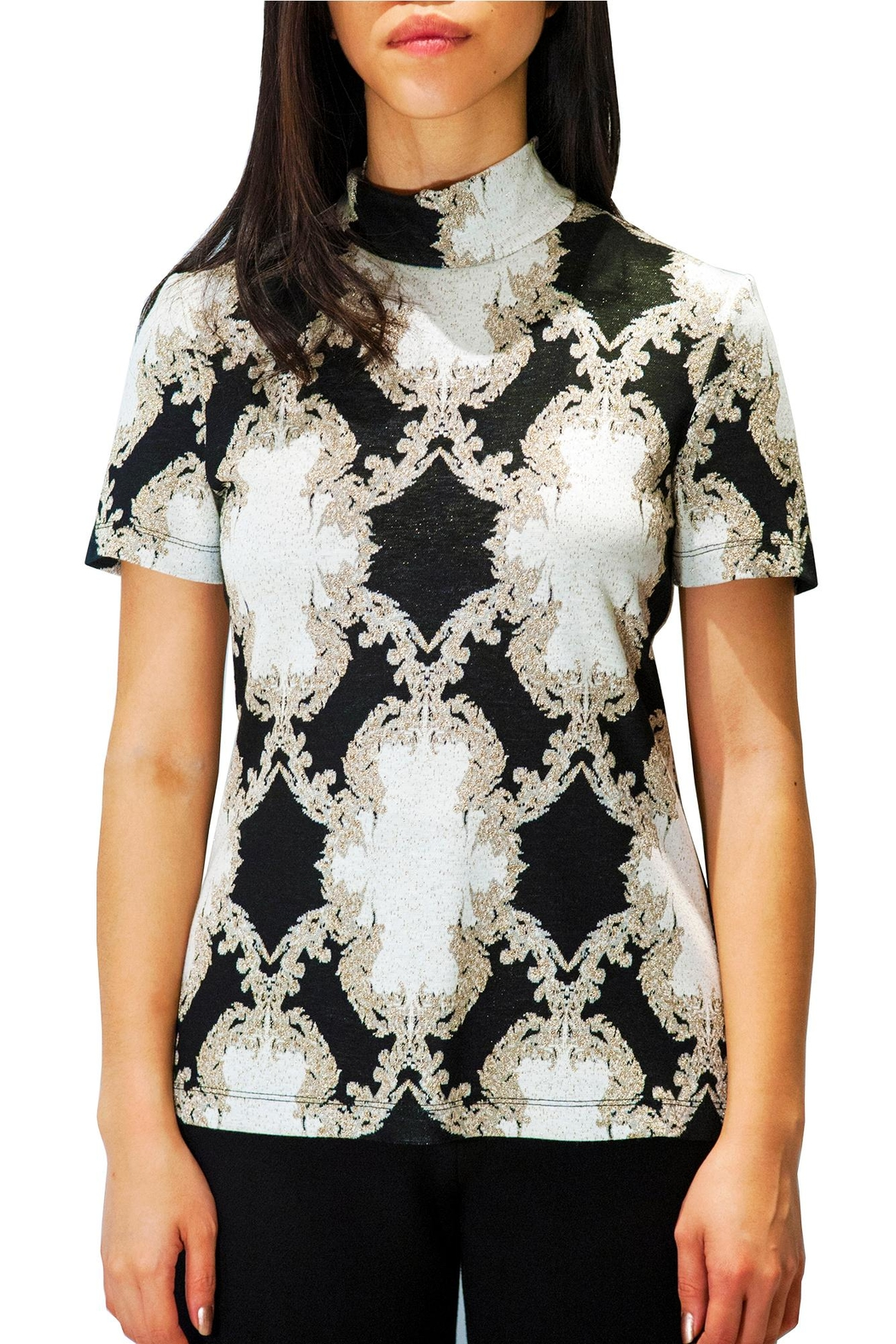 Camelot Embroidered Metallic Top - Front Full Image