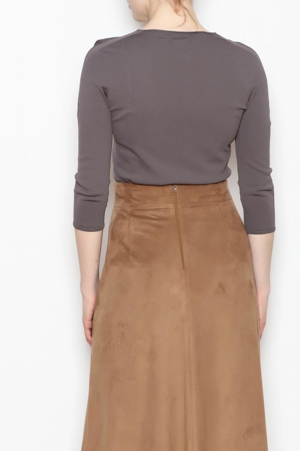 Camelot Metallic Suede Skirt - Side Cropped Image