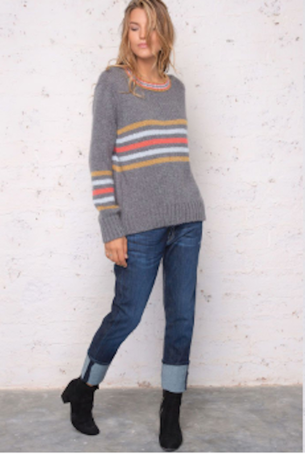 Wooden Ships Cameron Stripe Pullover - Side Cropped Image
