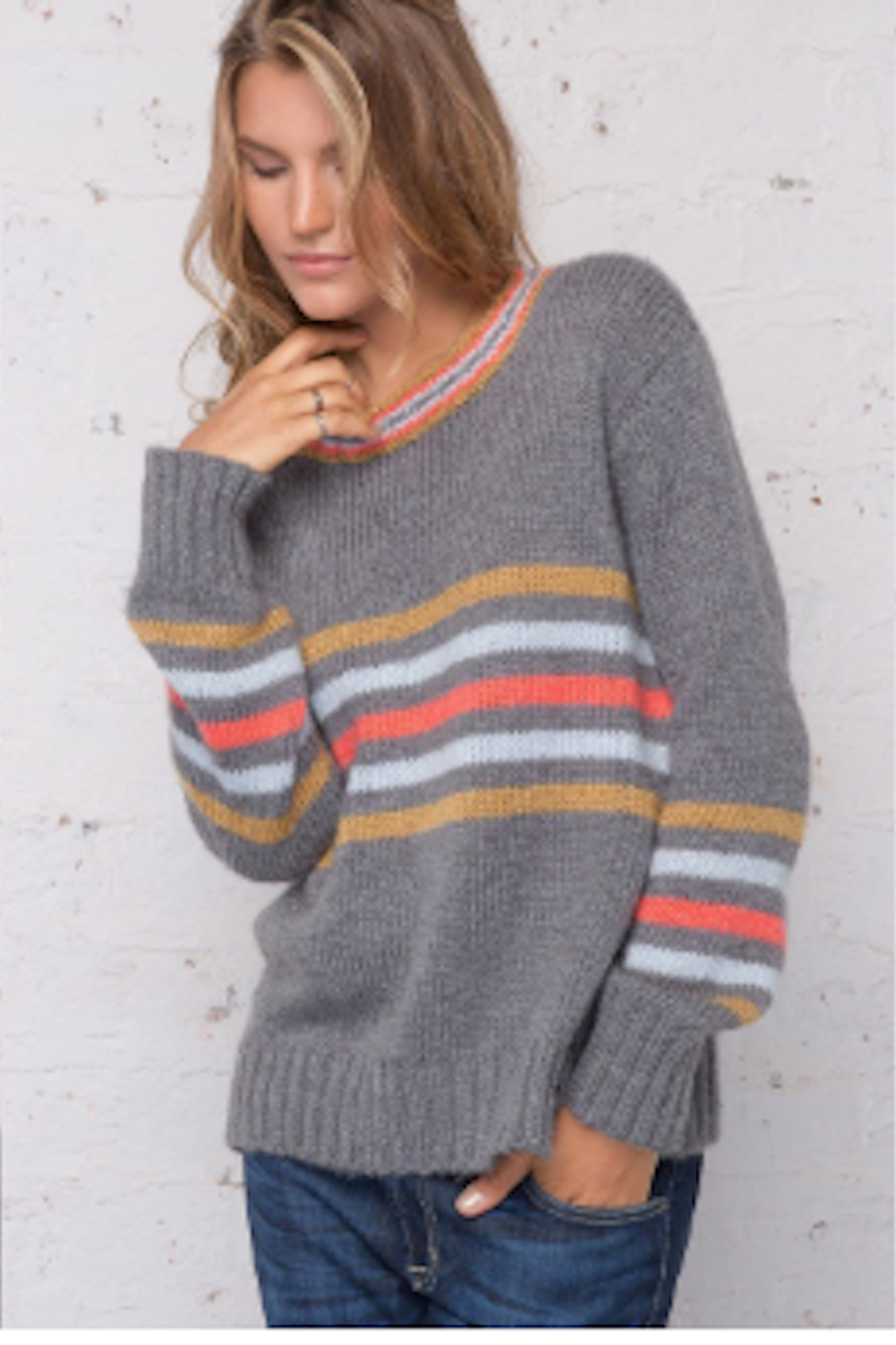 Wooden Ships Cameron Stripe Pullover - Front Cropped Image