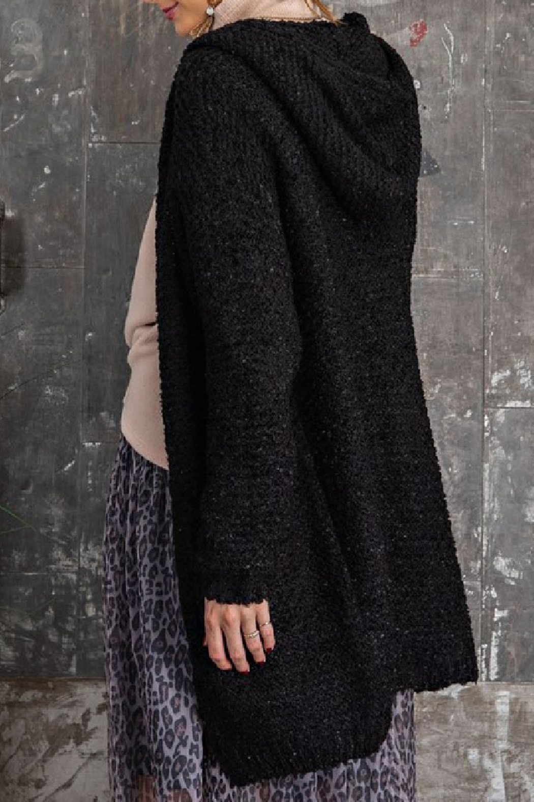 easel  Cami Hooded Cardigan - Front Full Image