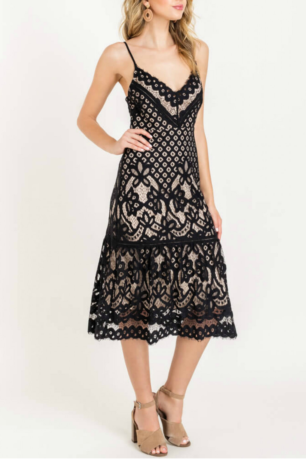 Lush  Cami Lace Midi Dress - Front Cropped Image