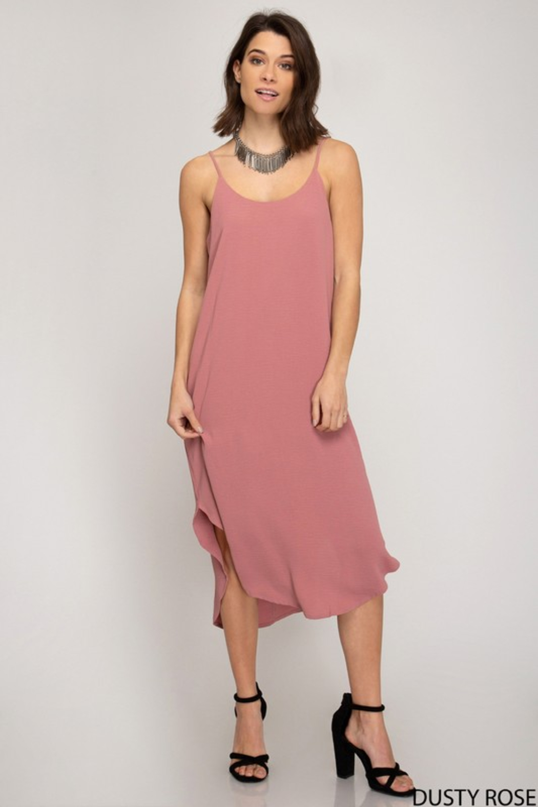 R+D Cami Midi Slip Dress - Front Cropped Image