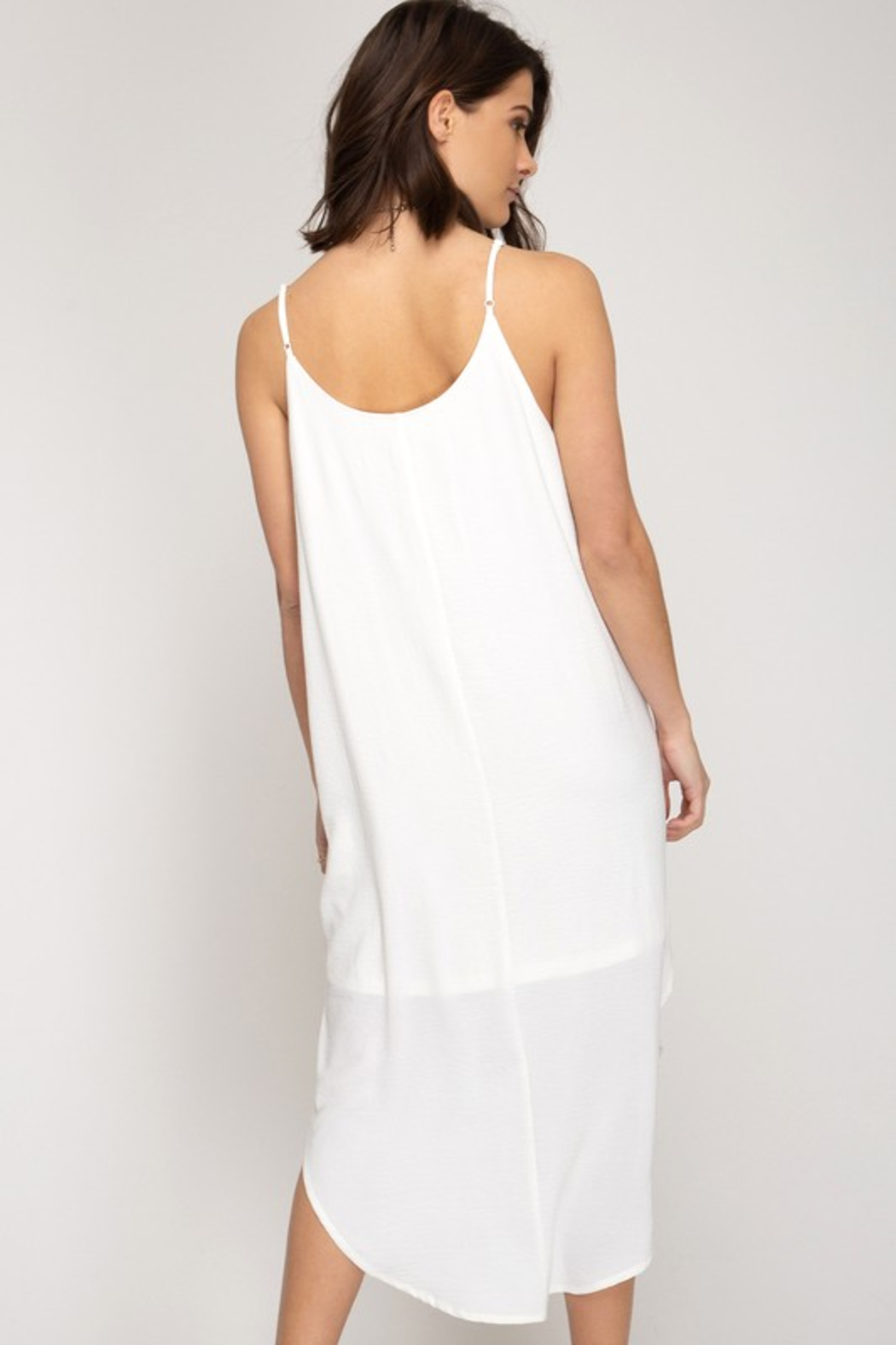 R+D Cami Midi Slip Dress - Front Full Image