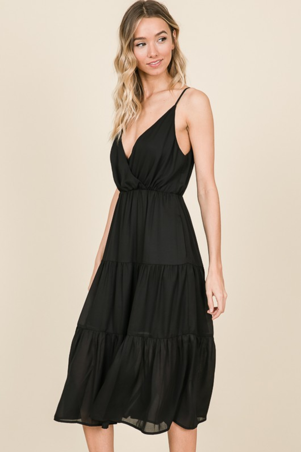 Olivaceous  Cami Ruffle Dress - Front Full Image