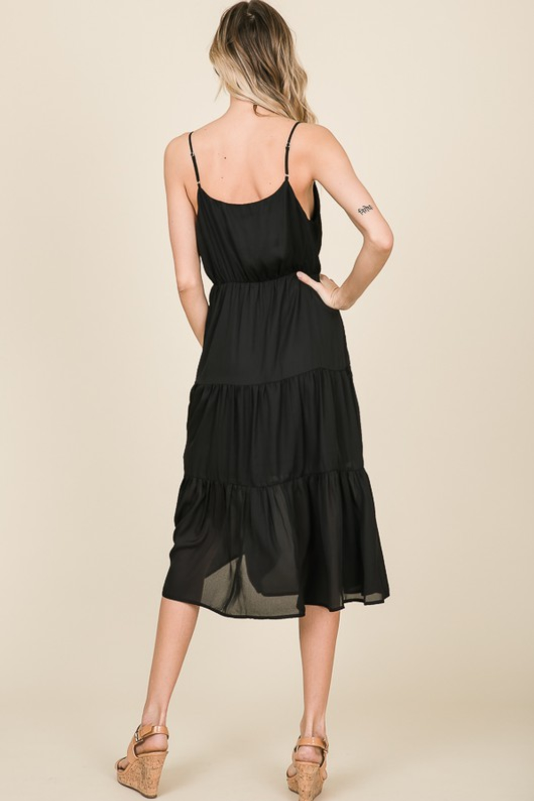 Olivaceous  Cami Ruffle Dress - Side Cropped Image