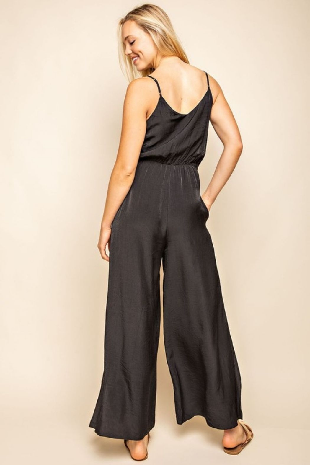 Mittoshop Cami Side Slitted Wide Legs Jumpsuit - Front Full Image