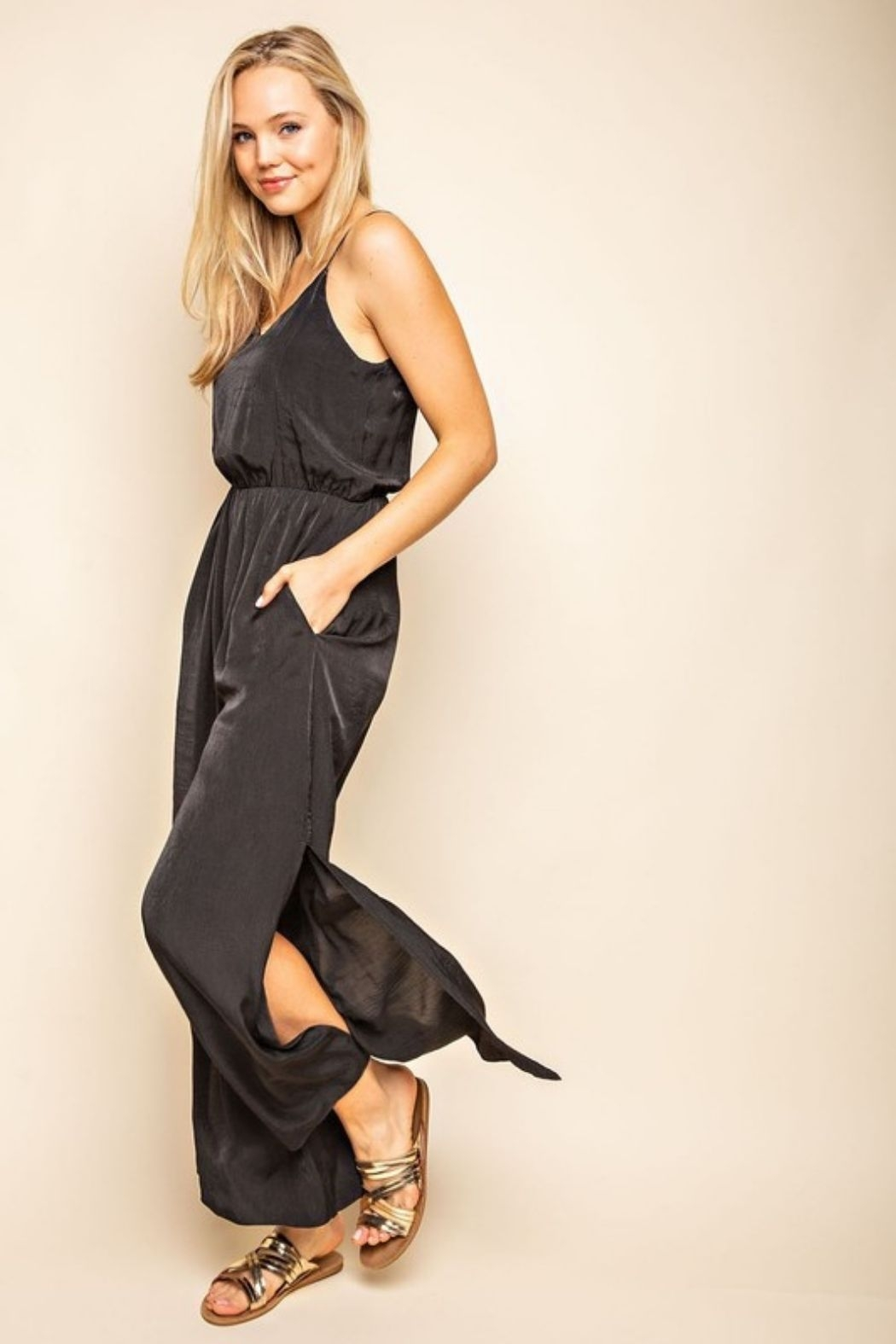 Mittoshop Cami Side Slitted Wide Legs Jumpsuit - Main Image