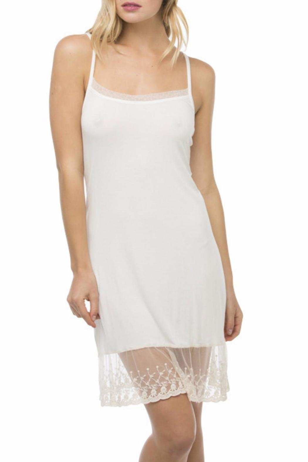 subtle luxury Cami Slip with Lace Trim - Front Cropped Image