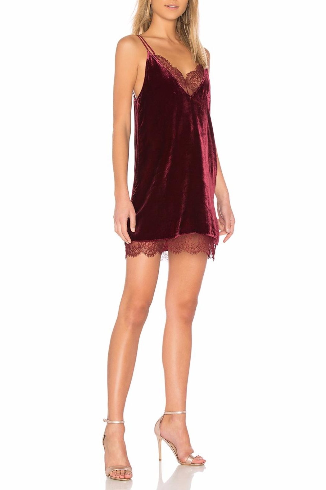 Cami NYC Burgundy Velvet Dress - Front Full Image