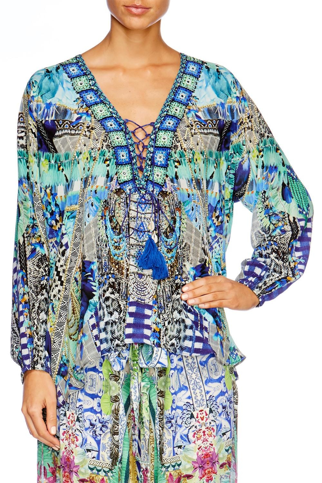 Camilla Globetrotter Lace Up Shirt - Front Full Image