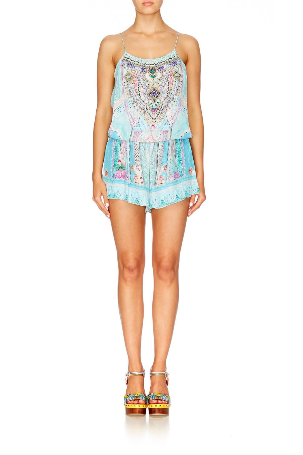 Camilla Shoestring Strap Playsuit - Front Full Image