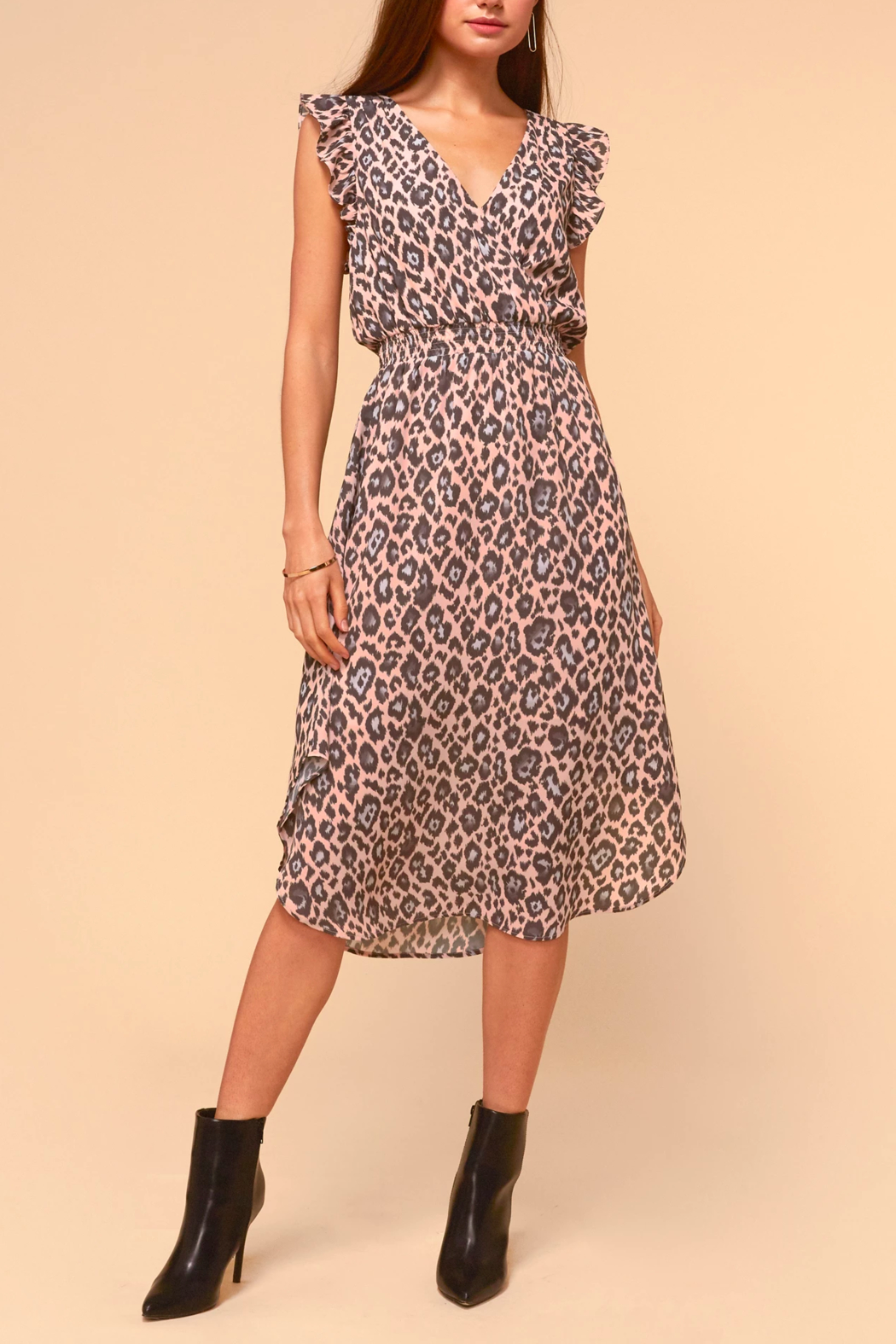 Adelyn Rae Camille Animal-Print Dress - Back Cropped Image