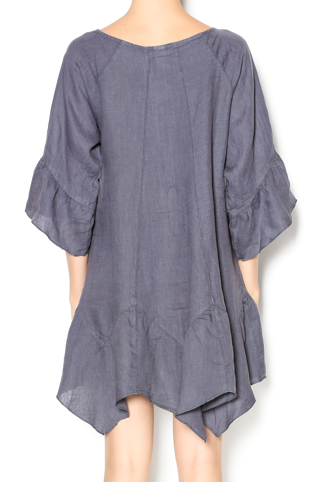Camille Charcoal Linen Tunic Dress - Back Cropped Image