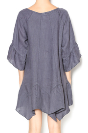 Camille Charcoal Linen Tunic Dress - Back cropped