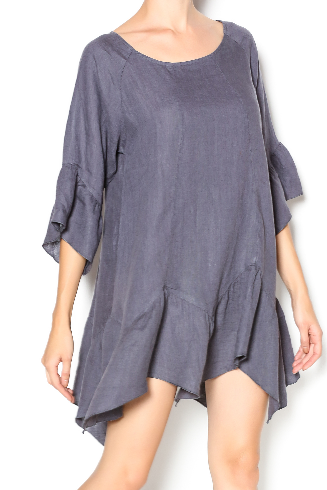 Camille Charcoal Linen Tunic Dress - Main Image