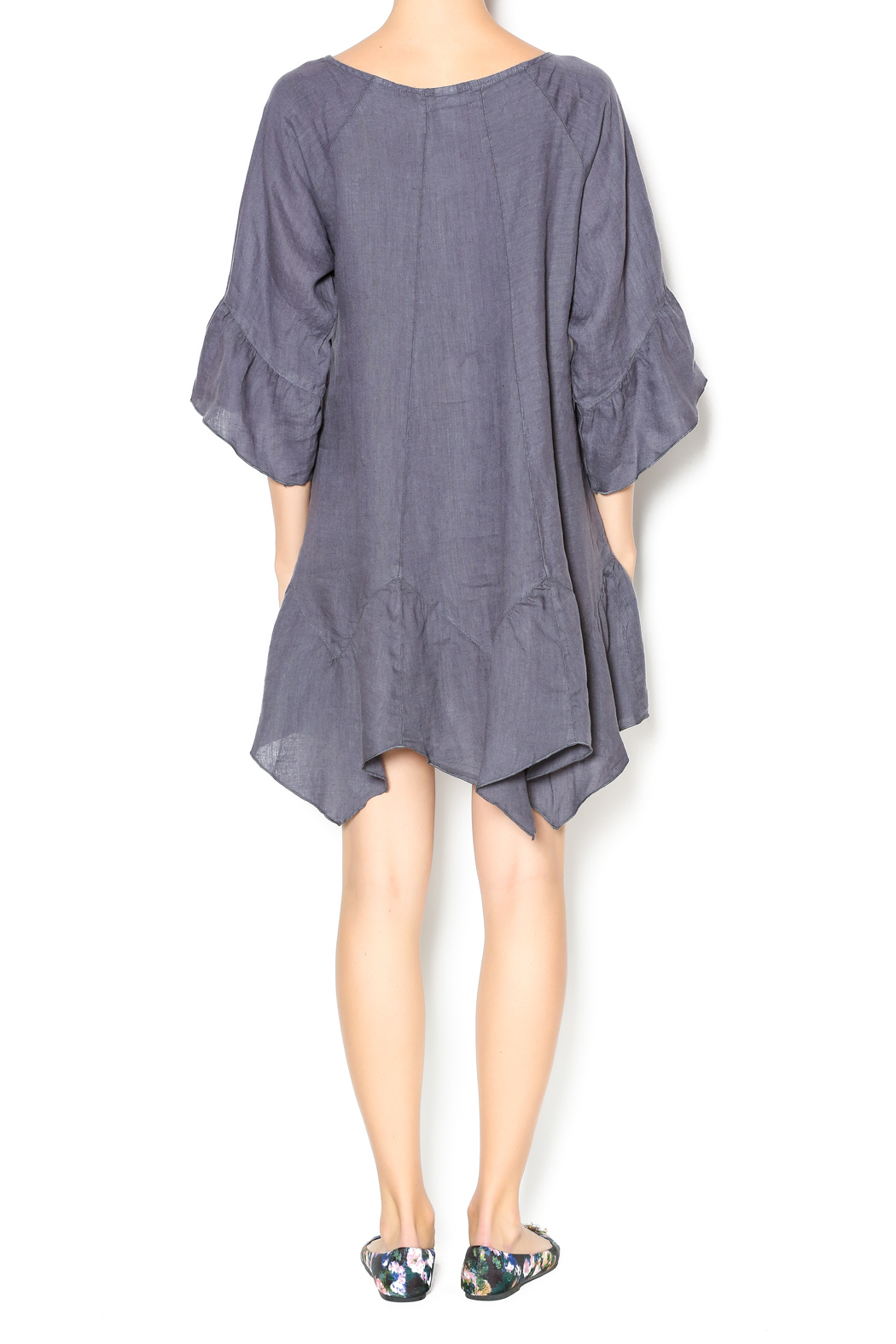 Camille Charcoal Linen Tunic Dress - Side Cropped Image