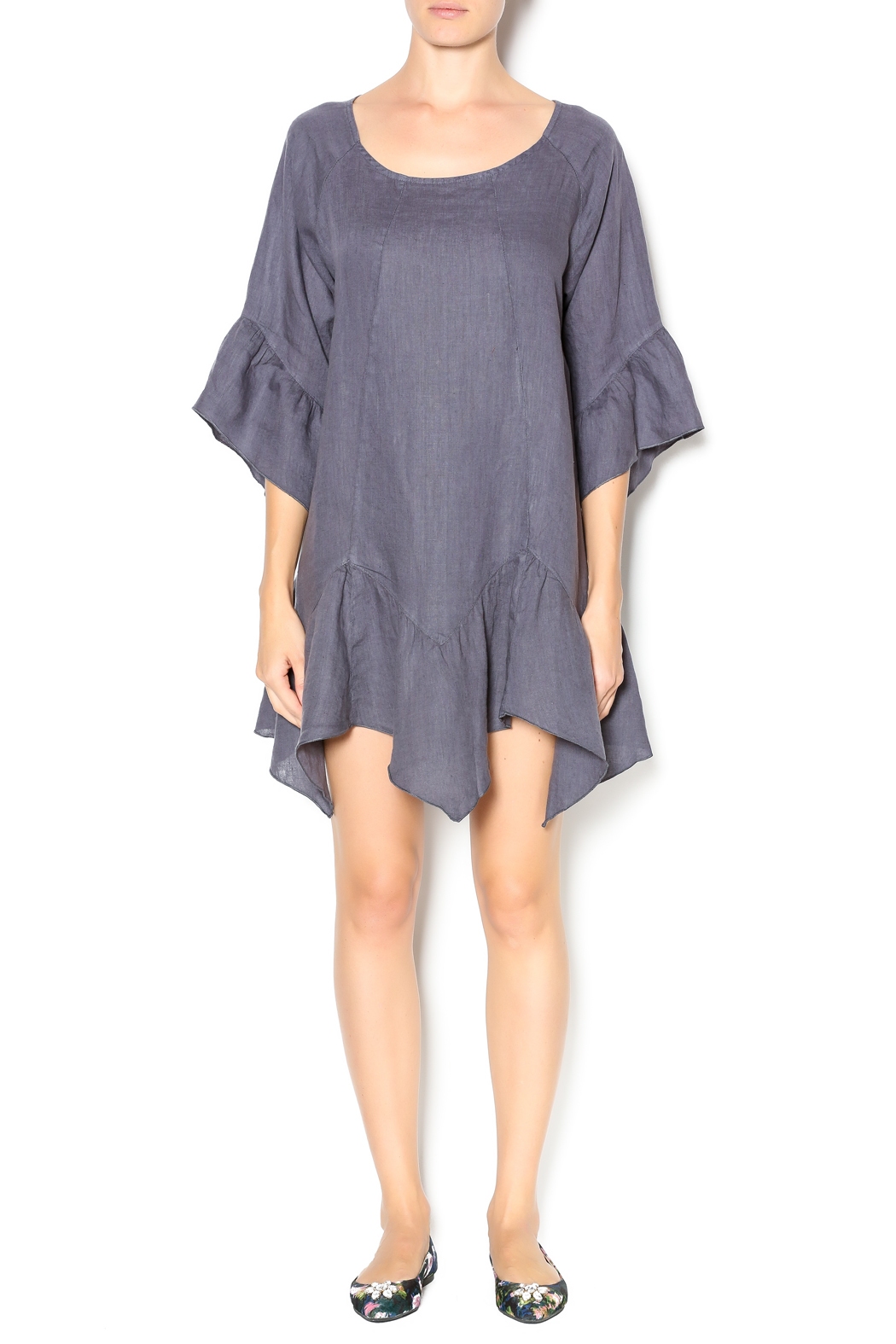 Camille Charcoal Linen Tunic Dress - Front Full Image