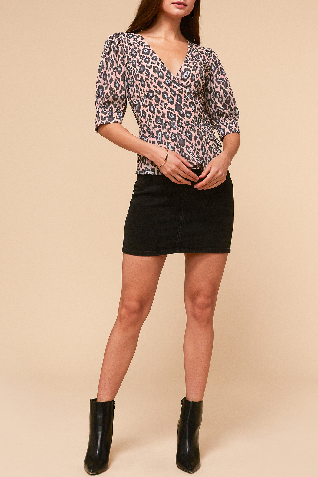 Adelyn Rae Camille Wrap Front Blouse - Front Full Image