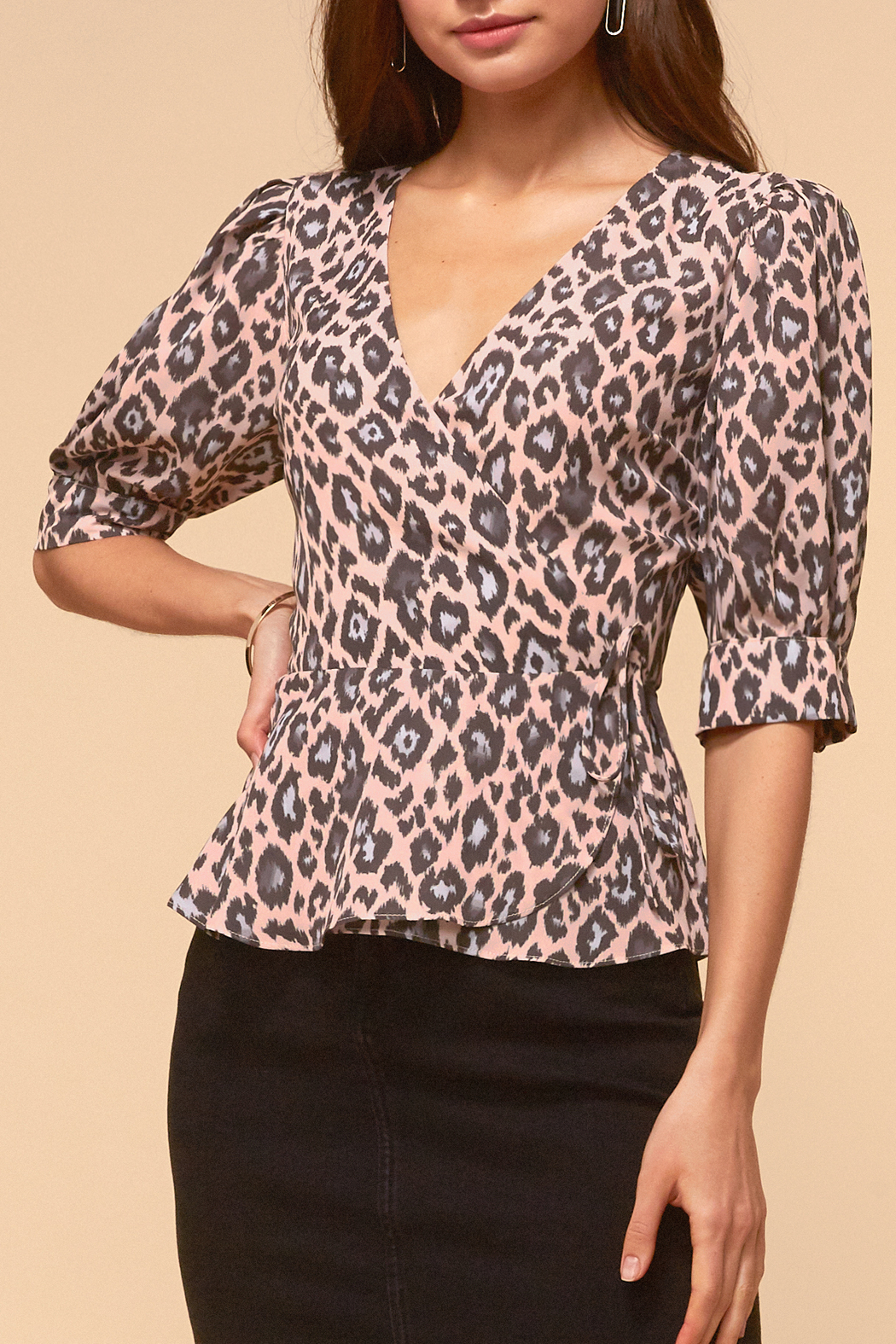 Adelyn Rae Camille Wrap Front Blouse - Main Image