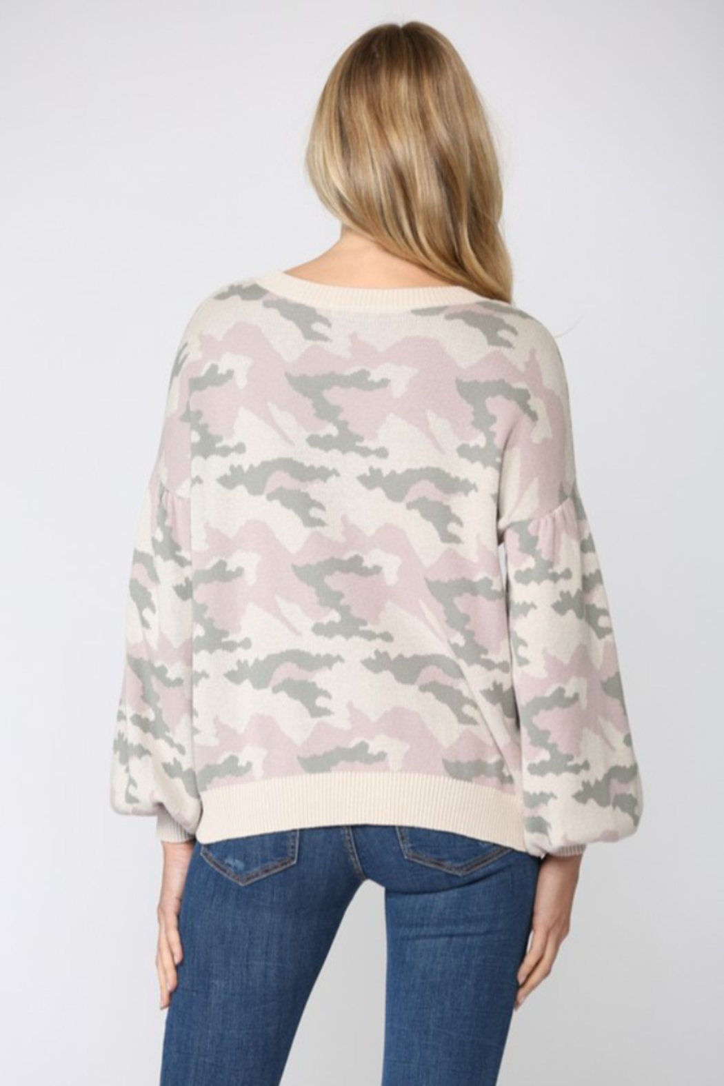 Fate Camo Balloon Sleeve Sweater - Side Cropped Image