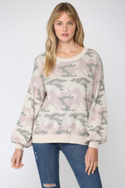 Fate Camo Balloon Sleeve Sweater - Front cropped
