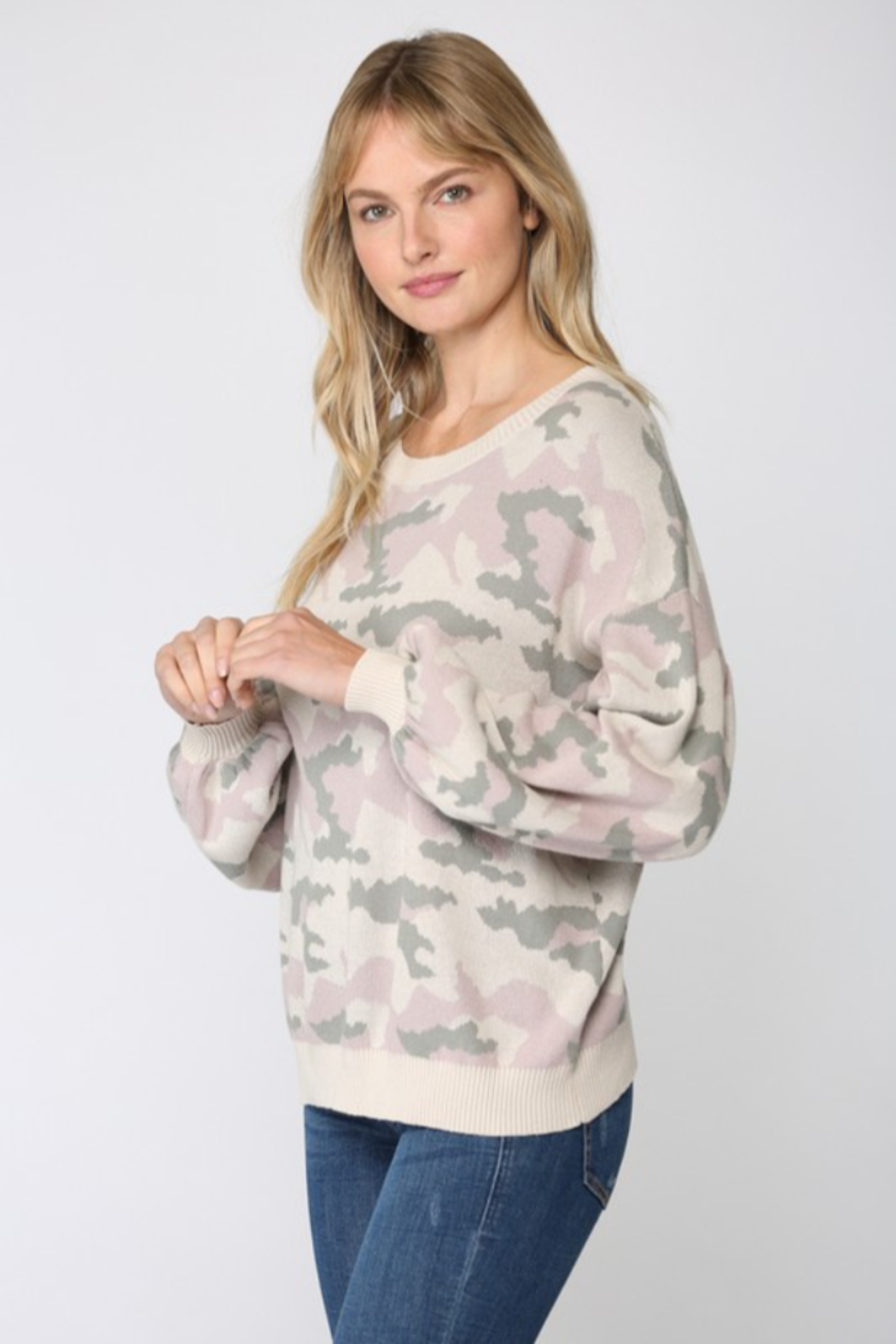 Fate Camo Balloon Sleeve Sweater - Front Full Image