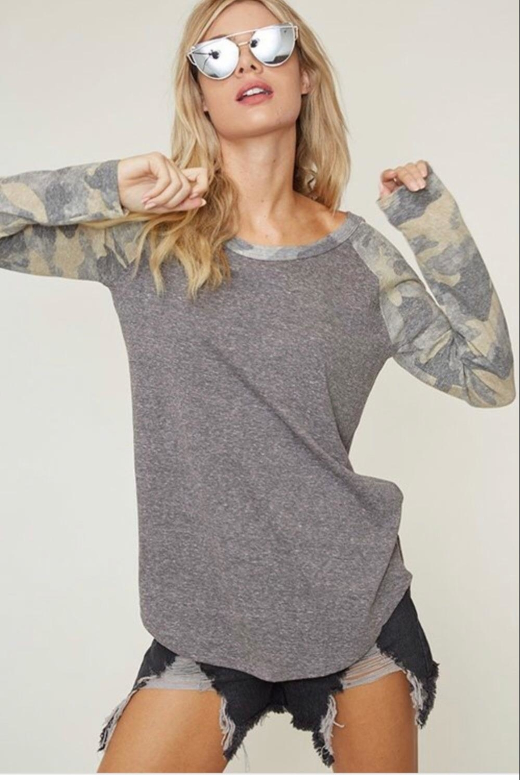 Fantastic Fawn Camo Baseball Tee - Front Cropped Image