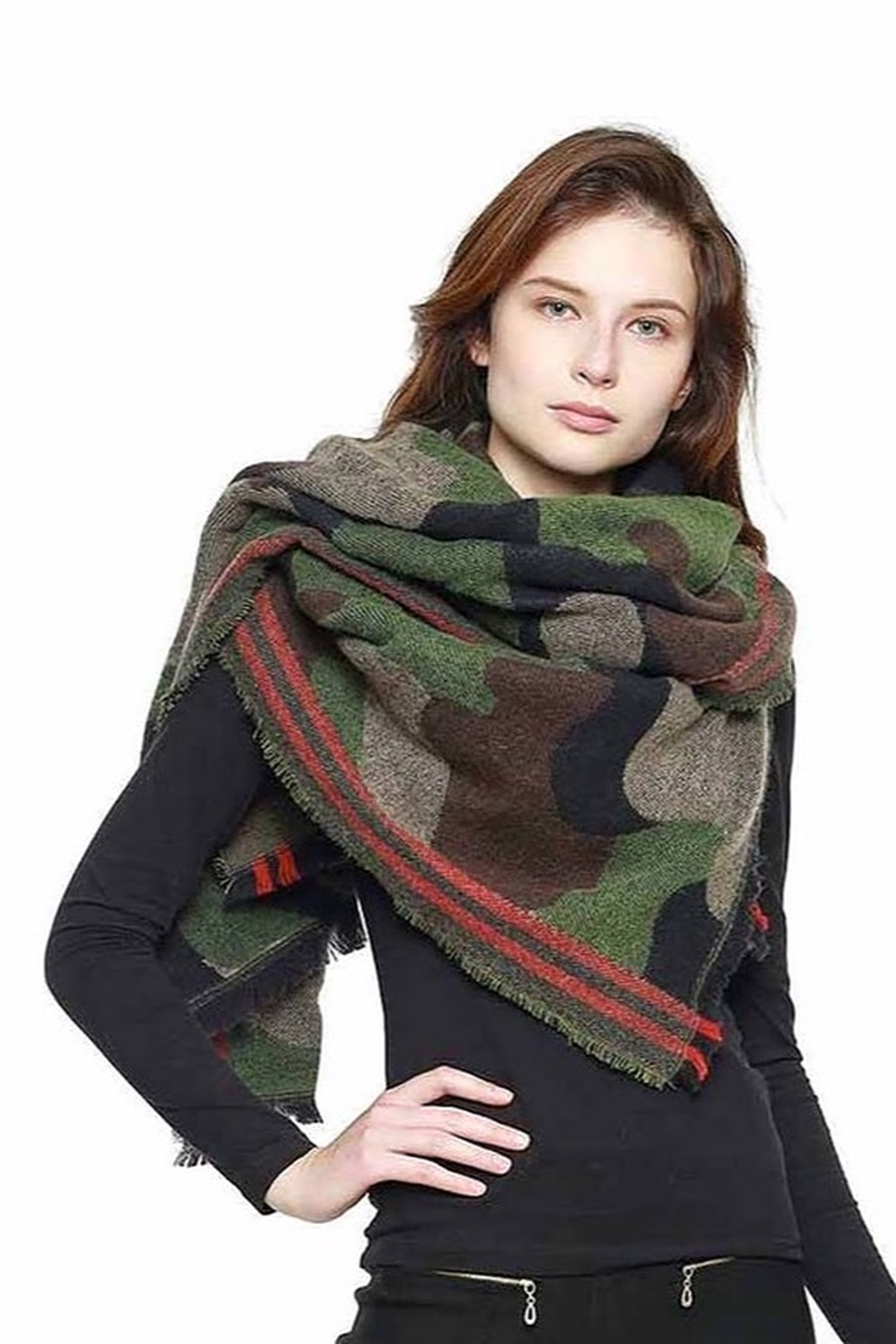 Trendy Wholesale Camo Blanket Scarf - Main Image