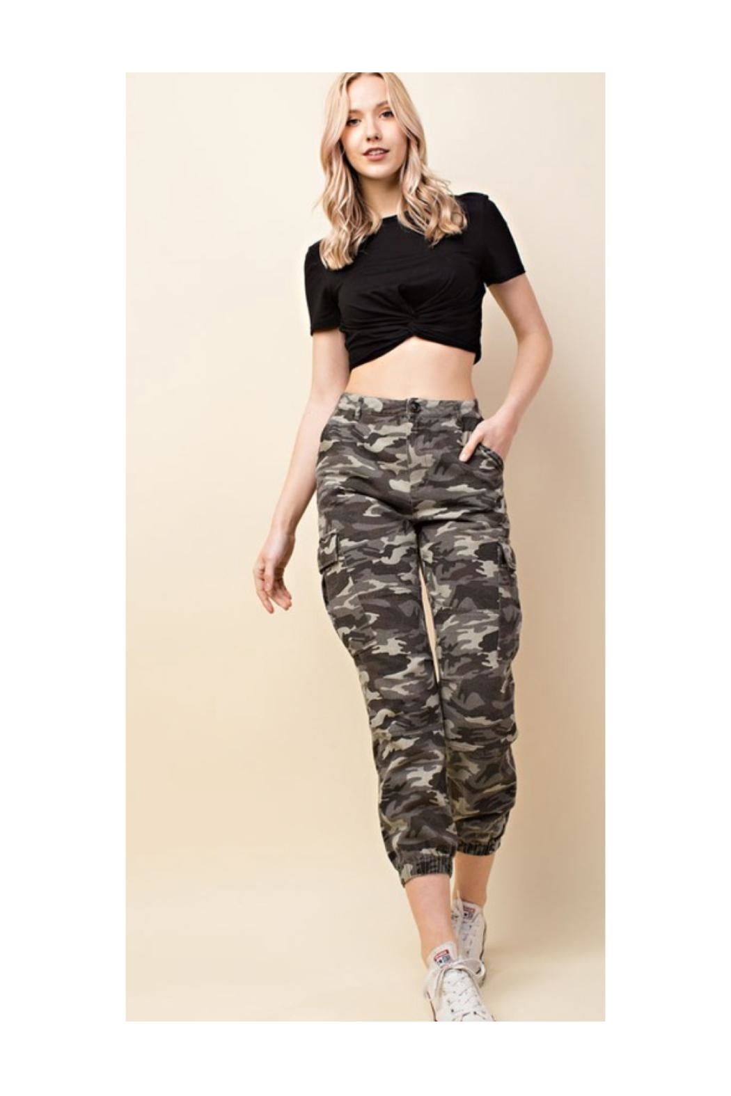 Polly & Esther Camo Cargo Pants - Front Cropped Image