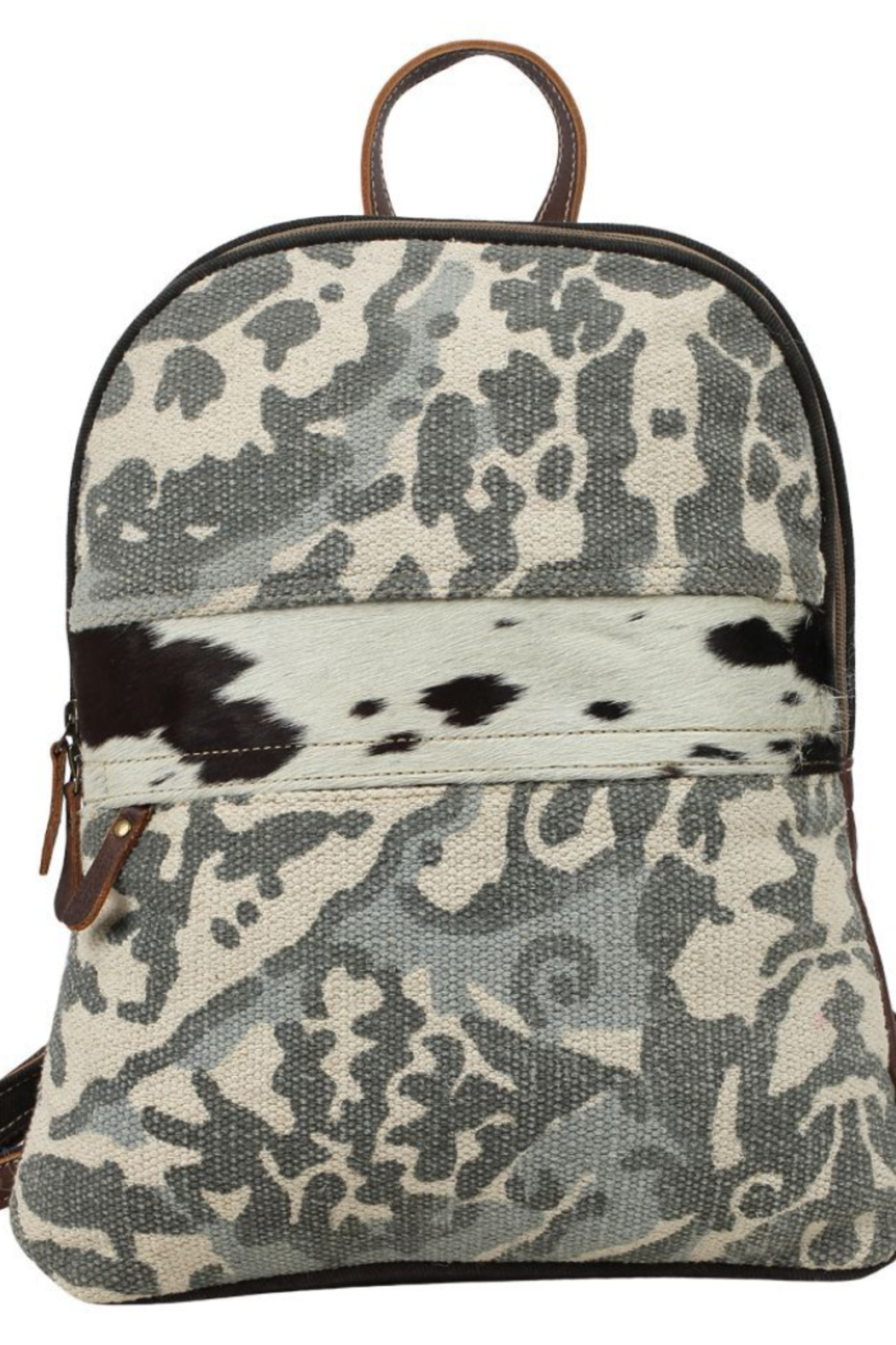 Myra Bags Camo Cowhide Backpack - Front Full Image