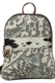 Myra Bags Camo Cowhide Backpack - Front full body