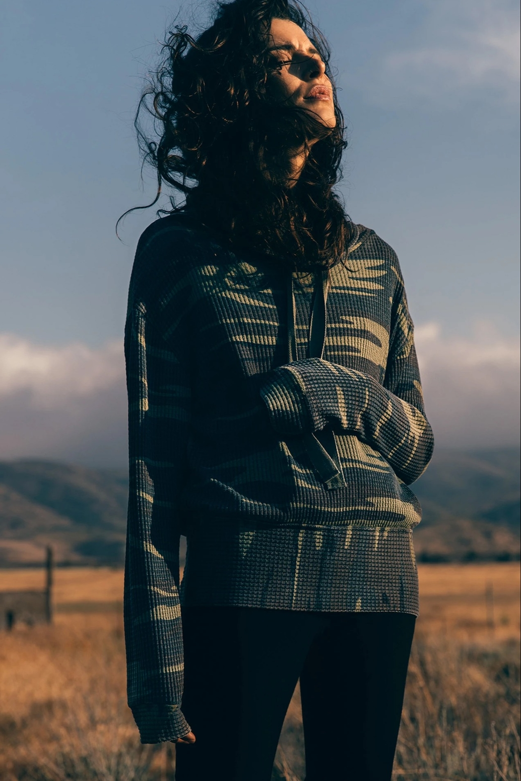 z supply Camo Cowl Neck Waffle Thermal - Main Image