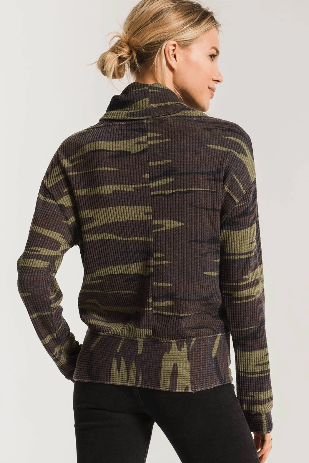 z supply Camo Cowl Neck Waffle Thermal - Side Cropped Image