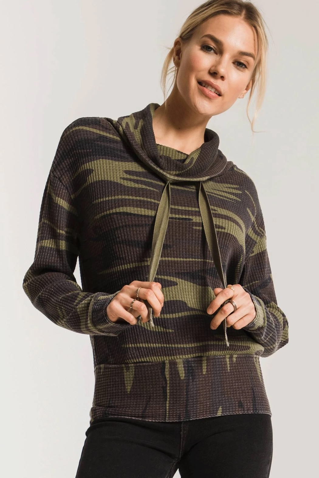 z supply Camo Cowl Neck Waffle Thermal - Front Full Image