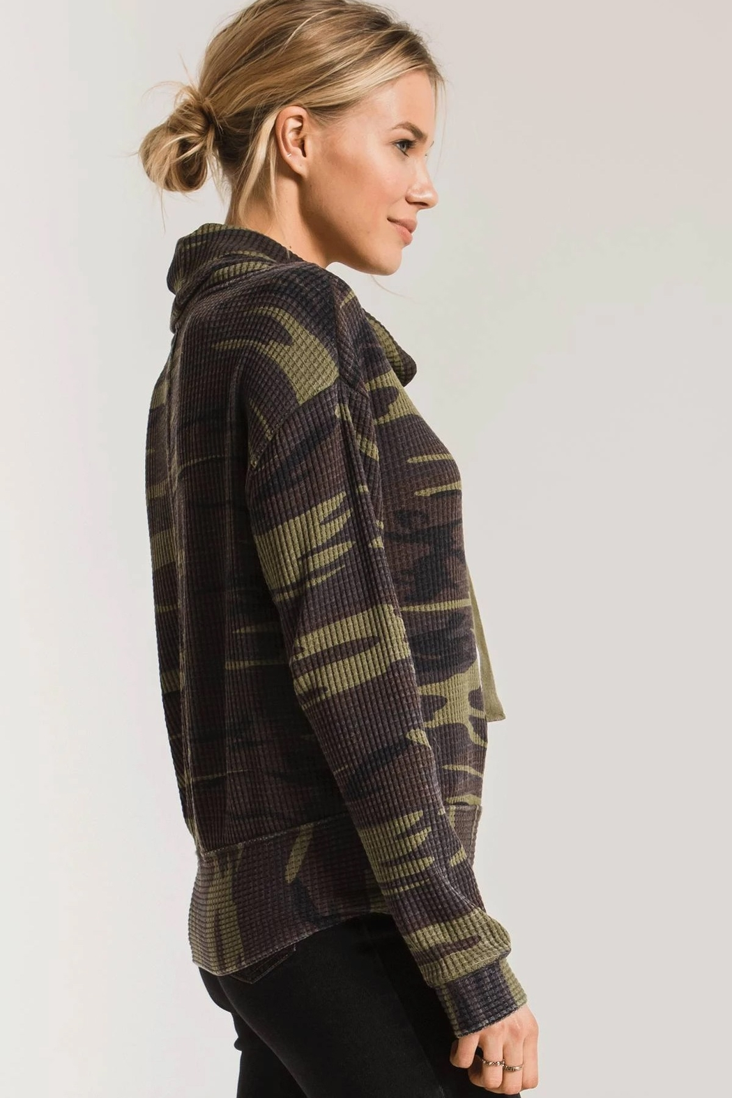 z supply Camo Cowl Neck Waffle Thermal - Back Cropped Image