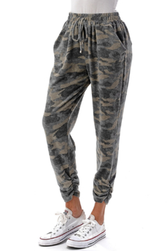 Ariella USA Camo Cozy Ruched Hem Joggers - Product List Image
