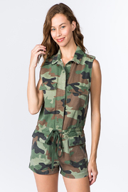 Olivaceous  Camo Denim Romper - Product Mini Image