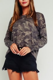 Olivaceous  Camo Distressed Crew - Product Mini Image