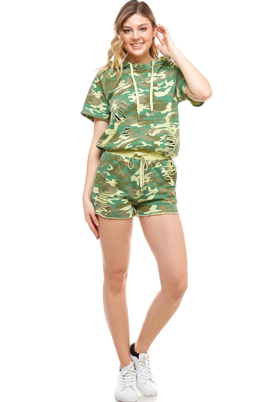 Dance & Marvel Camo Distressed Hoodie - Back Cropped Image