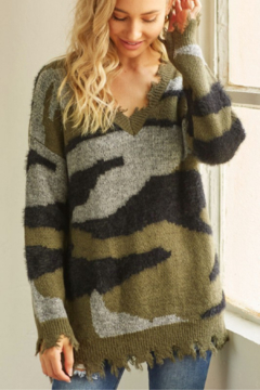 Shoptiques Product: Camo Distressed Knit Sweater