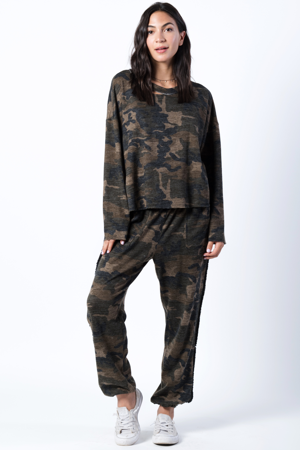 wanderlux  Camo Distressed Sweatshirt - Front Cropped Image