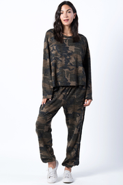 wanderlux  Camo Distressed Sweatshirt - Front cropped