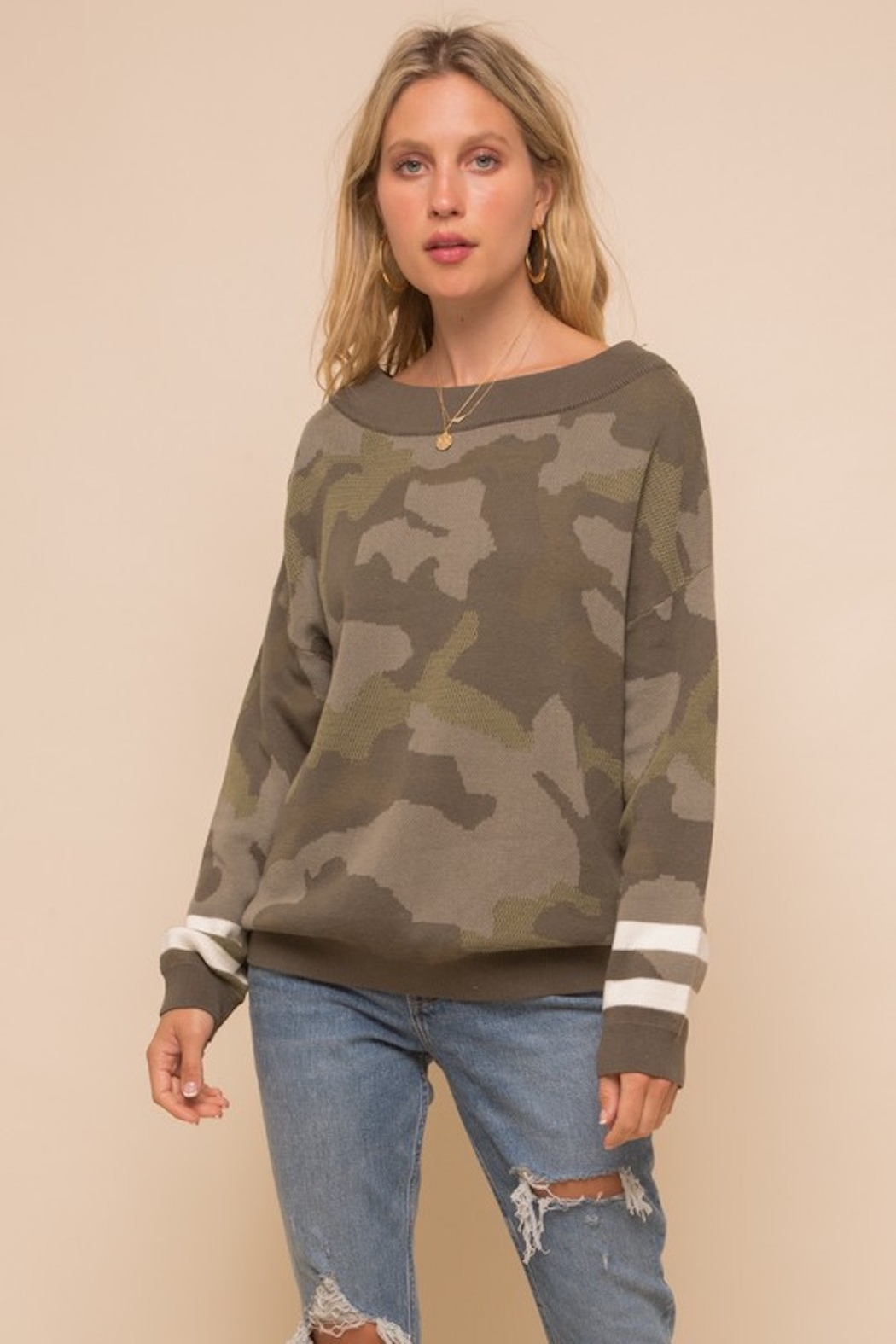 Hem & Thread Camo Dolman Sleeve Sweater - Front Cropped Image