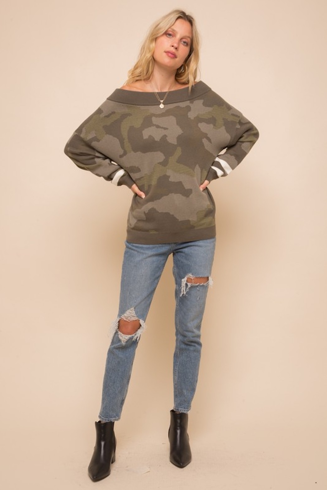 Hem & Thread Camo Dolman Sleeve Sweater - Side Cropped Image